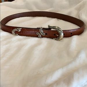 Brighton Brown Leather Belt w/silver buckle & tip